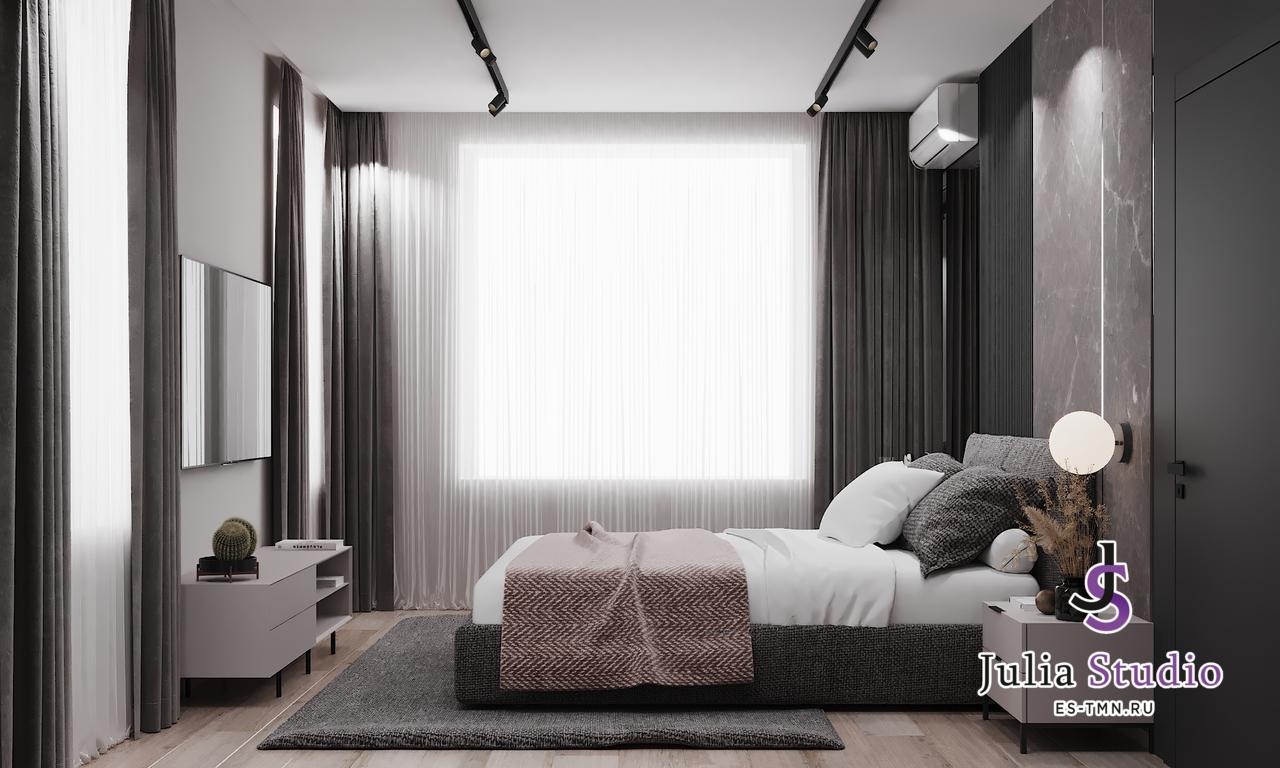 """Спальная комната с гардеробной в ЖК """"Европейский""""."""